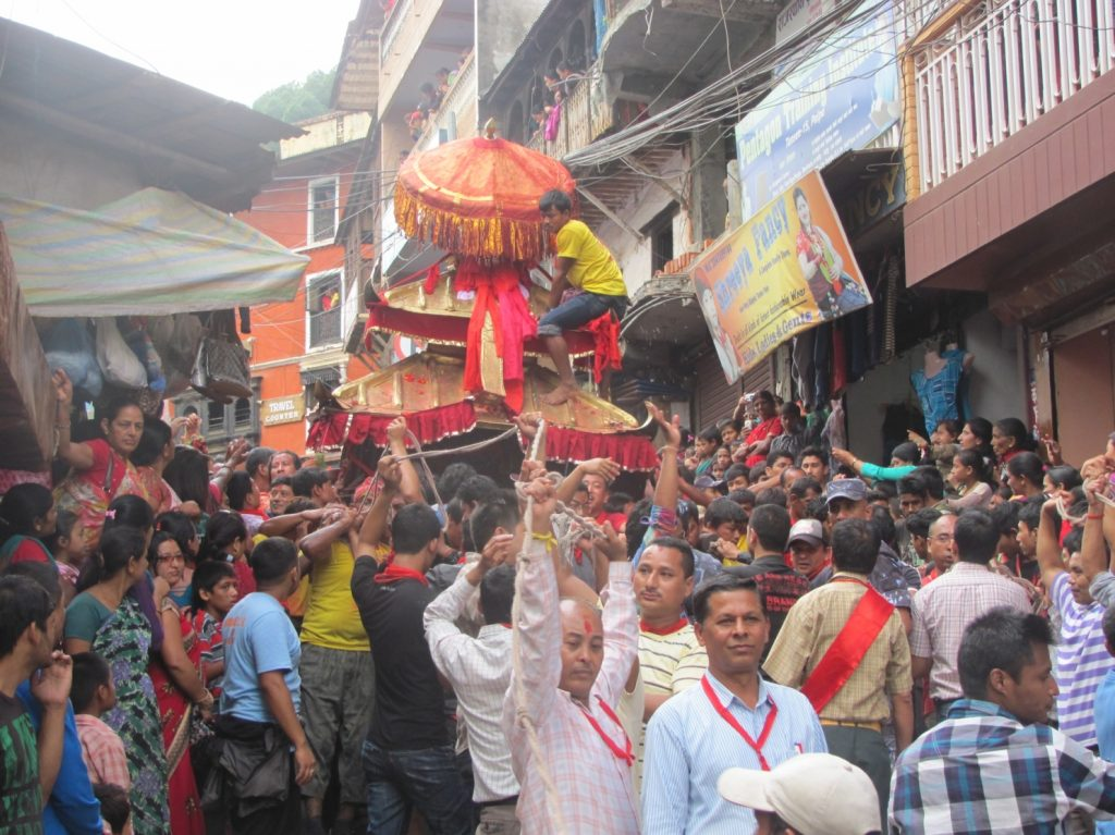 (The Chariot is carried through the streets of Tansen)