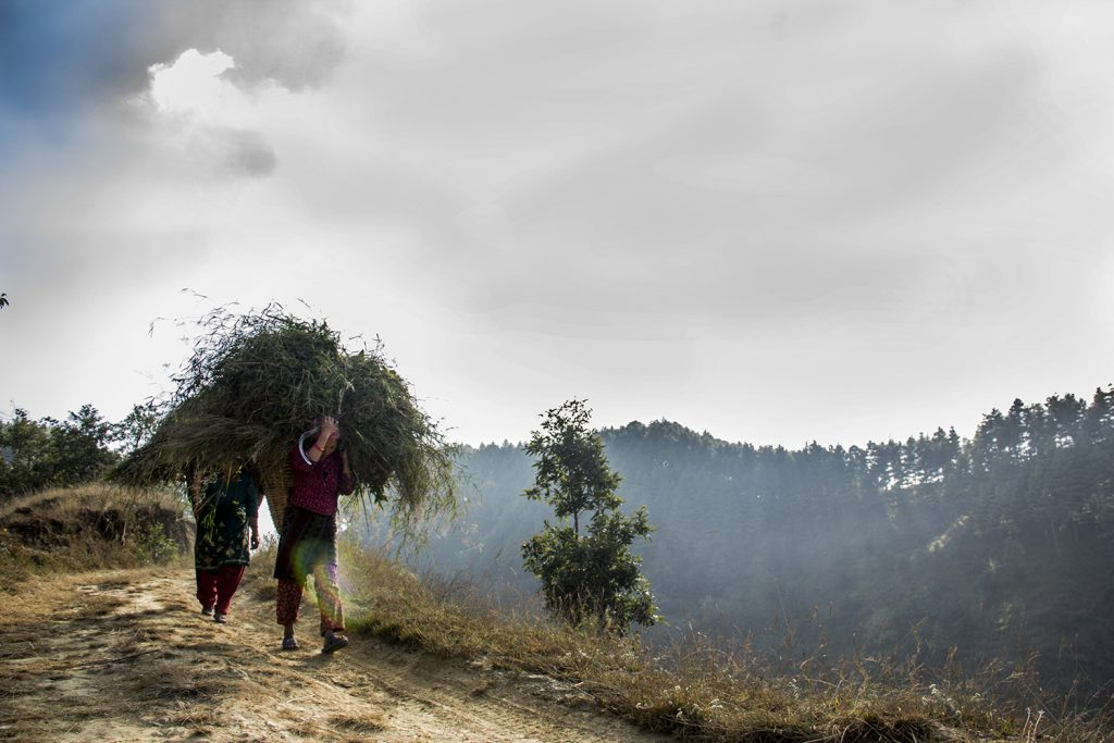 women in hiking route