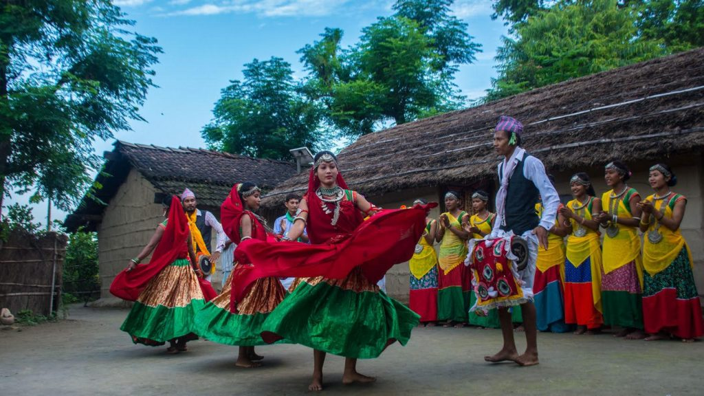 Locals performing cultural dance in the Bardiya Community Homestay.