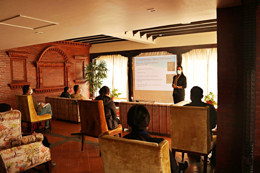 Dr. Shovita Shrestha Dhakal, PhD(Microbiology) Microbiologist TU Teaching Hospital, Presenting health and safety guidelines to the trainers